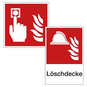 Brandschutzzeichen für Mittel und Einrichtungen