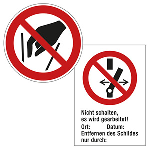 Verbotszeichen für Elektro, Anlagen, Maschinen
