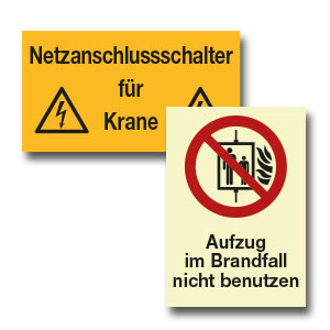 Hinweise für Aufzüge und Krane
