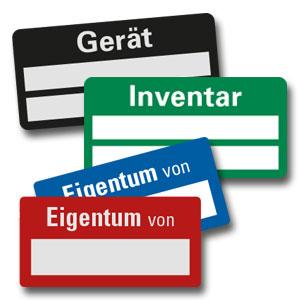 Standard-Inventar-Etiketten - auf Bogen