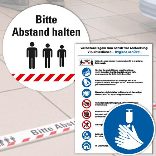 Hygiene-Kennzeichnung und Abstand halten