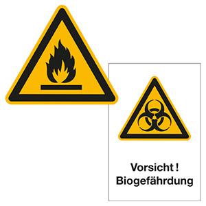 Warnschilder für gefährliche Stoffe
