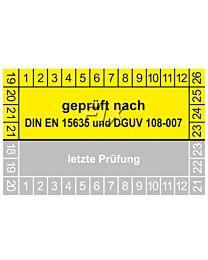 Prüfplakette geprüft nach DIN EN 15635