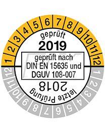 Prüfplakette geprüft nach DIN EN 15635, einjährig 18/19