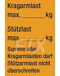 Kragarmlast - Stützlast -Etikett