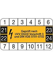 Wartungsplakette: geprüft nach UVV DGUV Vorschrift 3