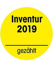 Inventuraufkleber 2019 - gelb