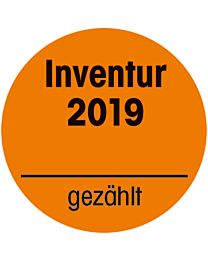 Inventuraufkleber 2019 - orange