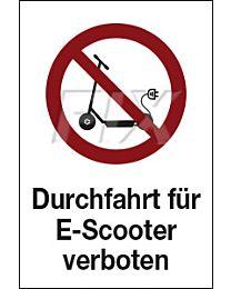 Durchfahrt für E - Scooter verboten