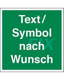 Rettungszeichenzeichen mit Wunschtext