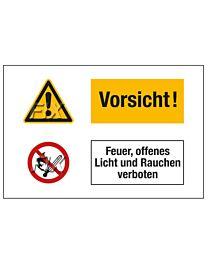 Vorsicht! Feuer, offenes Licht verboten
