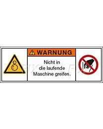 Nicht in die laufende Maschine greifen
