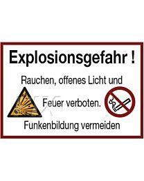 Explosionsgefahr! Rauchen, offenes Licht