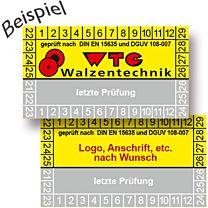 Prüfplakette, geprüft nach DIN EN 15635, nach Kundenwunsch