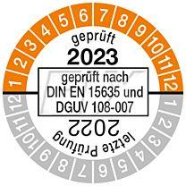 Prüfplakette geprüft nach DIN EN 15635, einjährig 22/23