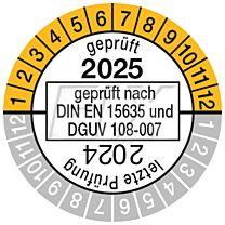 Prüfplakette geprüft nach DIN EN 15635, einjährig 2025