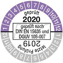 Prüfplakette geprüft nach DIN EN 15635, einjährig 19/20