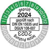 Prüfplakette geprüft nach DIN EN 15635, einjährig 23/24