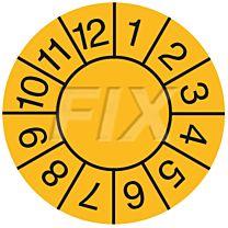 Prüfplaketten zum Selbsteintrag der Jahreszahl, gelb