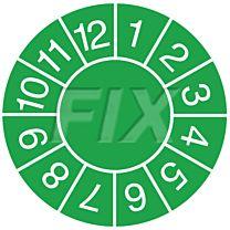 Prüfplaketten zum Selbsteintrag der Jahreszahl, grün
