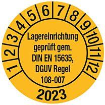 Prüfplakette - Lagereinrichtung geprüft gem. DIN EN 15635, DGUV Regel 108-007