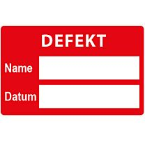 QS-Etikett: defekt
