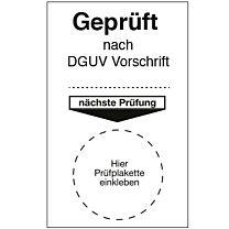 Grundetikett für Prüfplaketten - geprüft nach DGUV