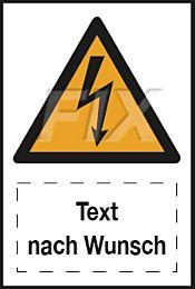 Blitz Symbol mit Text nach Wunsch