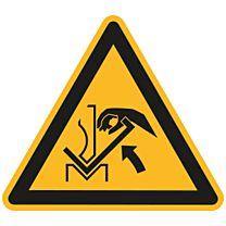 Warnung vor Quetschgefahr der Hand zwischen Werkzeugen und Presse