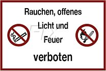 Rauchen, offenes Licht, Feuer verboten